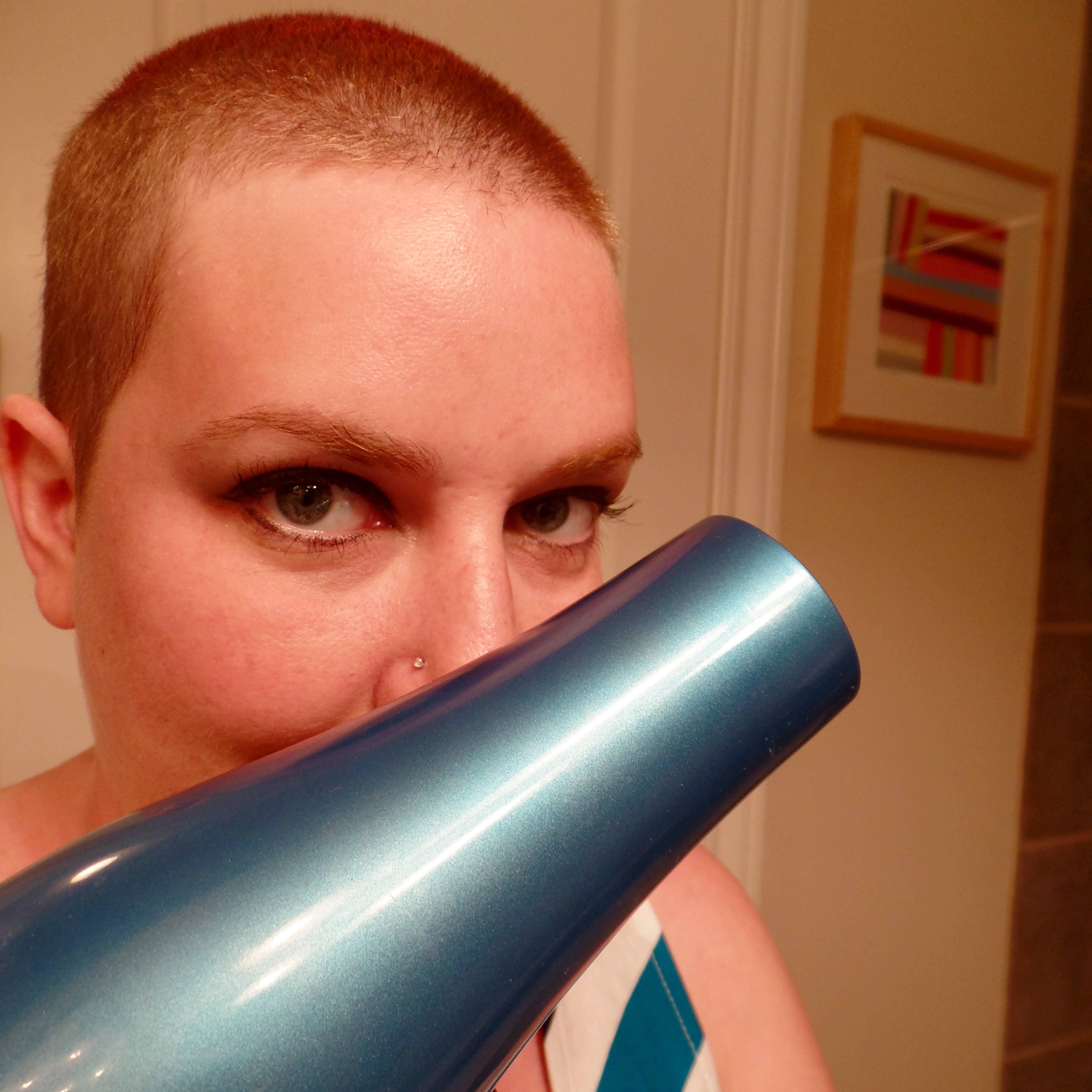 Shaved head hope holz the hair dryer goes on long term disability buycottarizona Image collections